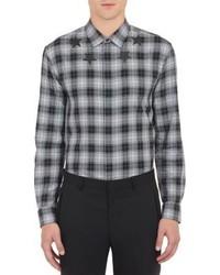 Camisa de manga larga de tartán en negro y blanco