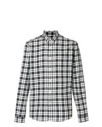 Camisa de Manga Larga de Tartán en Negro y Blanco de AMI Alexandre Mattiussi