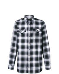 Camisa de manga larga de tartán en negro y blanco de Diesel Black Gold