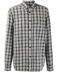 Camisa de manga larga de tartán en negro y blanco de Diesel