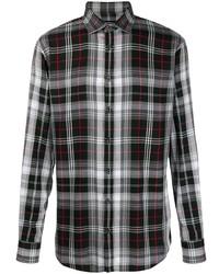 Camisa de manga larga de tartán en negro y blanco de DSQUARED2