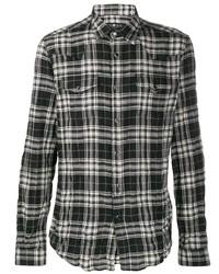 Camisa de manga larga de tartán en negro y blanco de Hydrogen