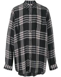 Camisa de manga larga de tartán en negro y blanco de Marni