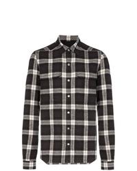 Camisa de manga larga de tartán en negro y blanco de Rick Owens