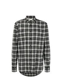 Camisa de manga larga de tartán en negro y blanco de Saint Laurent