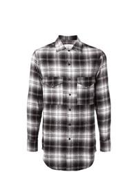 Camisa de Manga Larga de Tartán en Negro y Blanco de Song For The Mute
