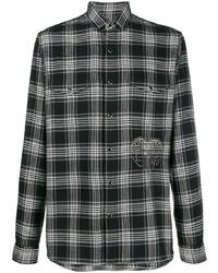 Camisa de manga larga de tartán en negro y blanco de Valentino