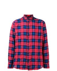 Camisa de Manga Larga de Tartán en Rojo y Azul Marino de Al Duca D'Aosta 1902