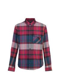 Camisa de Manga Larga de Tartán en Rojo y Azul Marino de Aztech Mountain