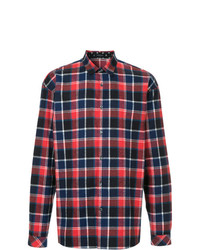 Camisa de Manga Larga de Tartán en Rojo y Azul Marino de Loveless