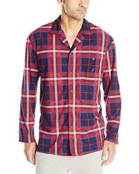 Camisa de Manga Larga de Tartán en Rojo y Azul Marino de Nautica