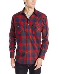 Camisa de Manga Larga de Tartán en Rojo y Azul Marino de Pendleton