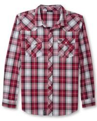 Camisa de manga larga de tartán en rojo y blanco
