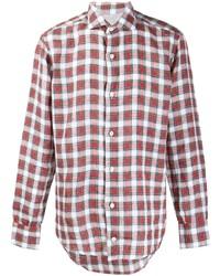 Camisa de manga larga de tartán en rojo y blanco de Eleventy