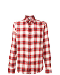 Camisa de Manga Larga de Tartán en Rojo y Blanco de Frame