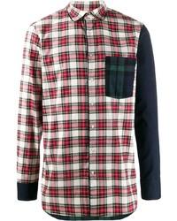 Camisa de manga larga de tartán en rojo y blanco de Gabriele Pasini