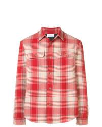 Camisa de Manga Larga de Tartán en Rojo y Blanco de John Elliott