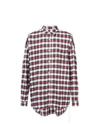 Camisa de Manga Larga de Tartán en Rojo y Blanco de Mastermind Japan