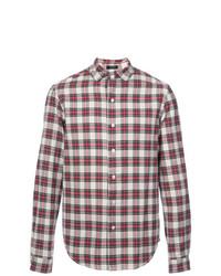 Camisa de Manga Larga de Tartán en Rojo y Blanco de R13