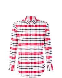 Camisa de Manga Larga de Tartán en Rojo y Blanco de Thom Browne