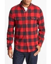 Camisa de manga larga de tartán en rojo y negro