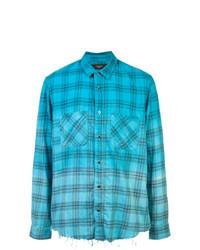Camisa de manga larga de tartán en turquesa de Amiri