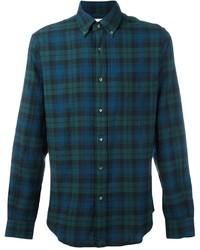 Camisa de Manga Larga de Tartán en Verde Azulado de Aspesi