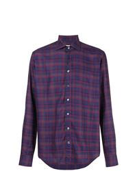 Camisa de manga larga de tartán en violeta de Etro