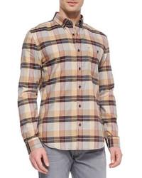 Camisa de manga larga de tartán marrón claro