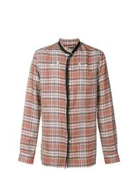 Camisa de manga larga de tartán marrón claro de Raf Simons