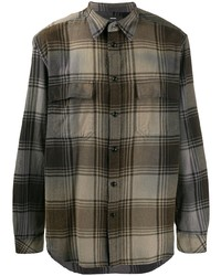 Camisa de manga larga de tartán marrón de Diesel
