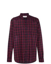 Camisa de manga larga de tartán morado oscuro de Saint Laurent