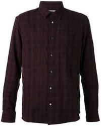Camisa de manga larga de tartán morado de Robert Geller