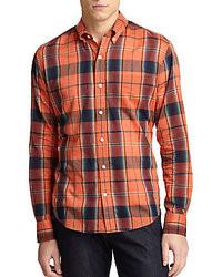 Camisa de manga larga de tartán naranja
