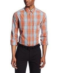 Camisa de manga larga de tartán naranja de Haggar