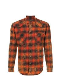 Camisa de manga larga de tartán naranja de Roarguns