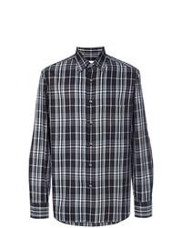 Camisa de Manga Larga de Tartán Negra de Brioni