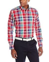 Camisa de manga larga de tartán roja de Alex Cannon