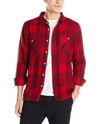 Camisa de manga larga de tartán roja de Brixton