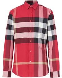 Camisa de manga larga de tartán roja de Burberry