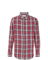 Camisa de manga larga de tartán roja de Saint Laurent