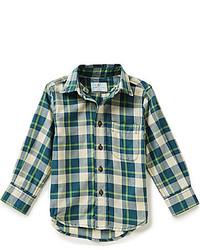 Camisa de manga larga de tartán verde oscuro