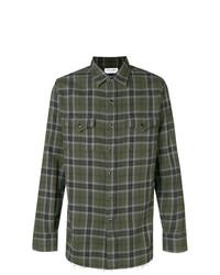 Camisa de manga larga de tartán verde oscuro de Saint Laurent