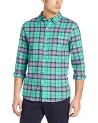 Camisa de manga larga de tartán verde de Threads 4 Thought