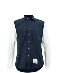 Camisa de Manga Larga en Azul Marino y Blanco de Thom Browne