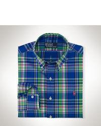Camisa de Manga Larga en Azul Marino y Verde
