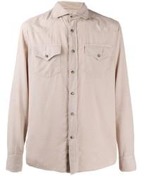 Camisa de manga larga en beige de Brunello Cucinelli
