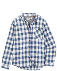 Camisa de manga larga en blanco y azul marino
