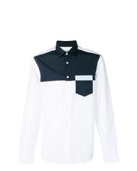 Camisa de manga larga en blanco y azul marino de Kenzo
