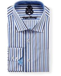 Camisa de Manga Larga en Blanco y Azul